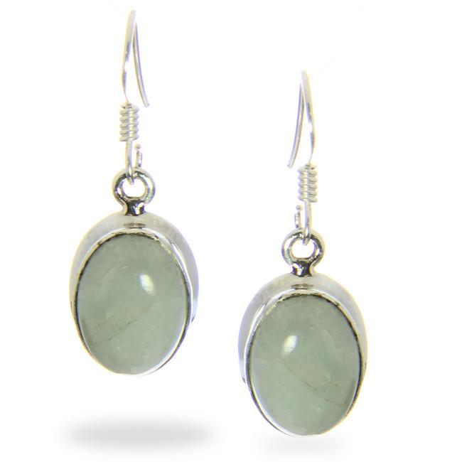 Oval Aquamarine Cabochon Earrings