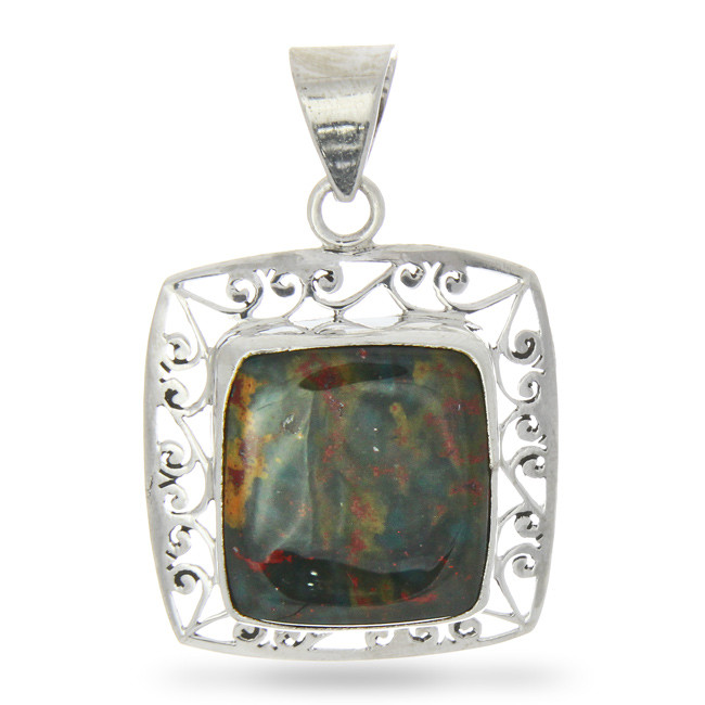 Bloodstone Silver Lace Pendant