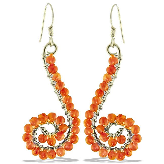 Carnelian Beaded Swirl Earrings