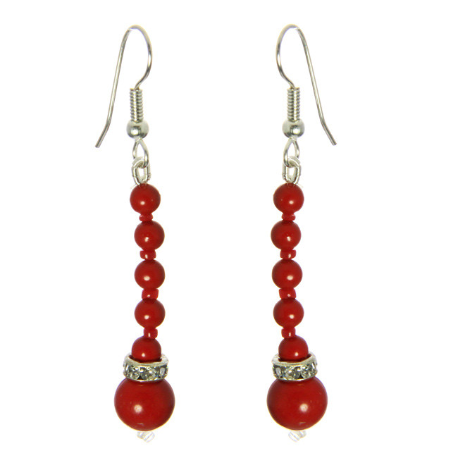 Red Coral And Cz Earrings
