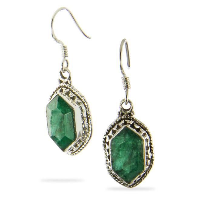 Faceted Emerald Zelda Earrings