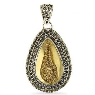 Gold Window Druzy Pendant