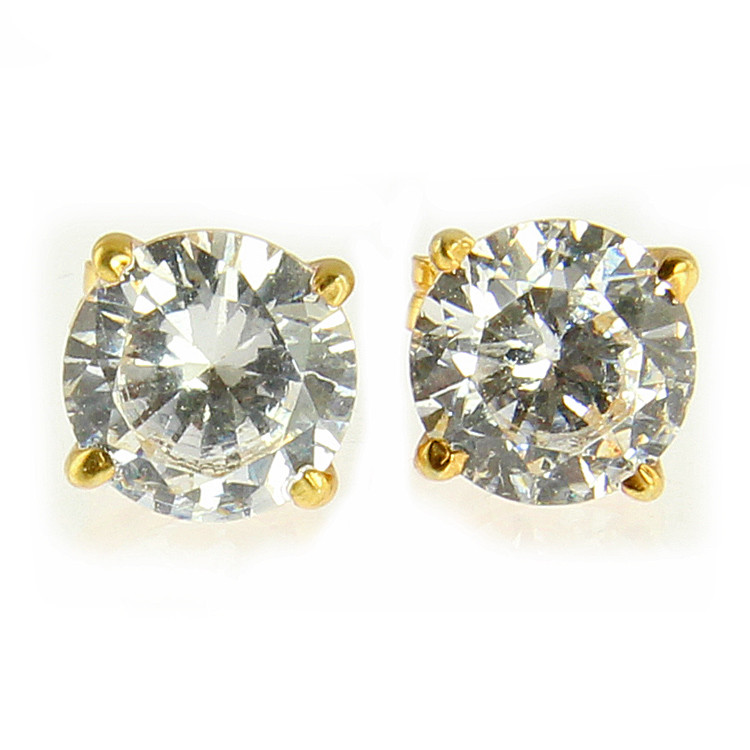 18k Gold Plated Sterling Silver Cz Studs