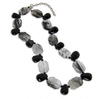 Black Tourmalated Quartz And Onyx Necklace