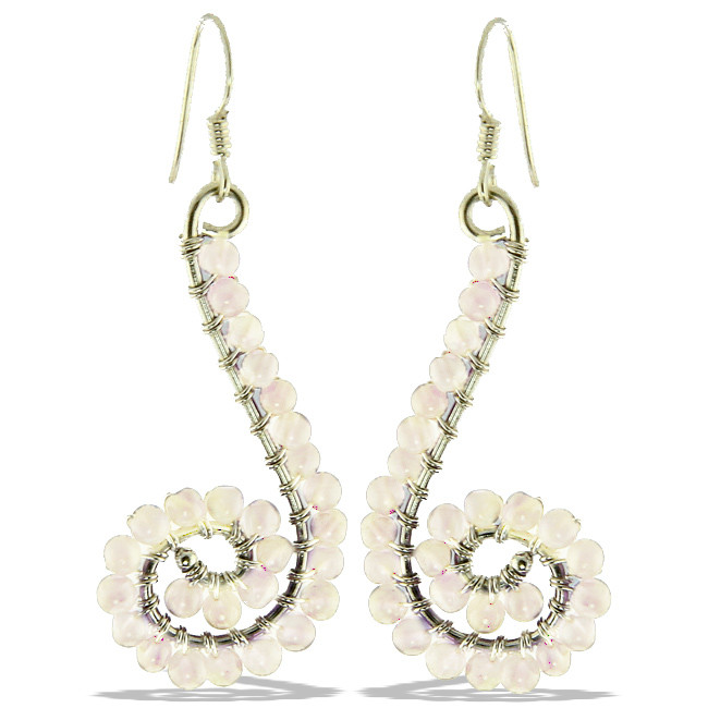 Moonstone Beaded Swirl Earrings