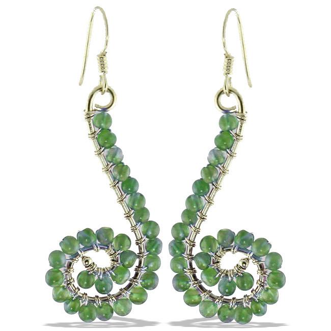 Peridot Beaded Swirl Earrings