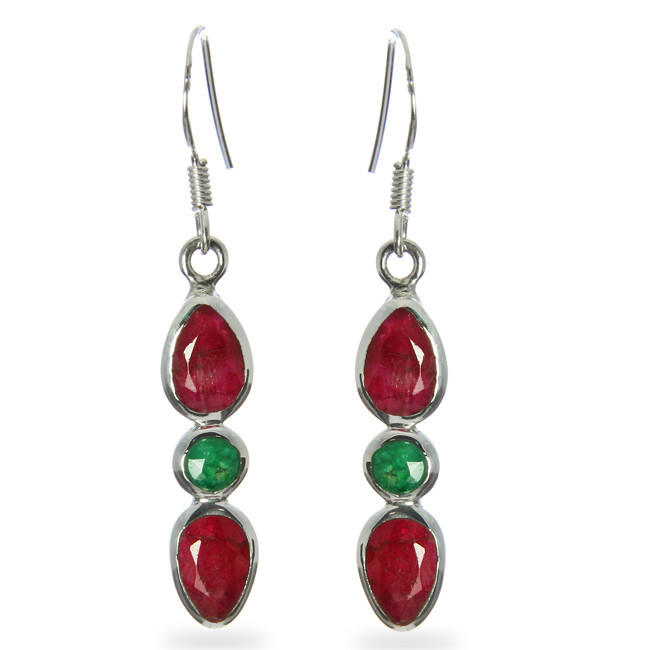 Faceted Ruby And Emerald Earrings