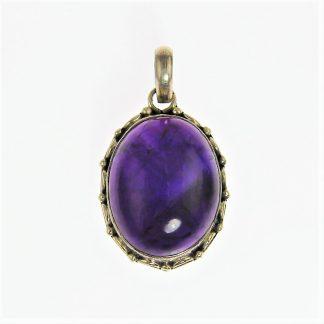Deep Purple Hackmanite Silver Pendant