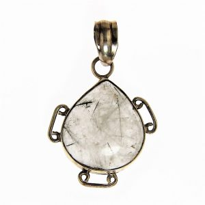 Tourmalated Quartz Silver Pendant