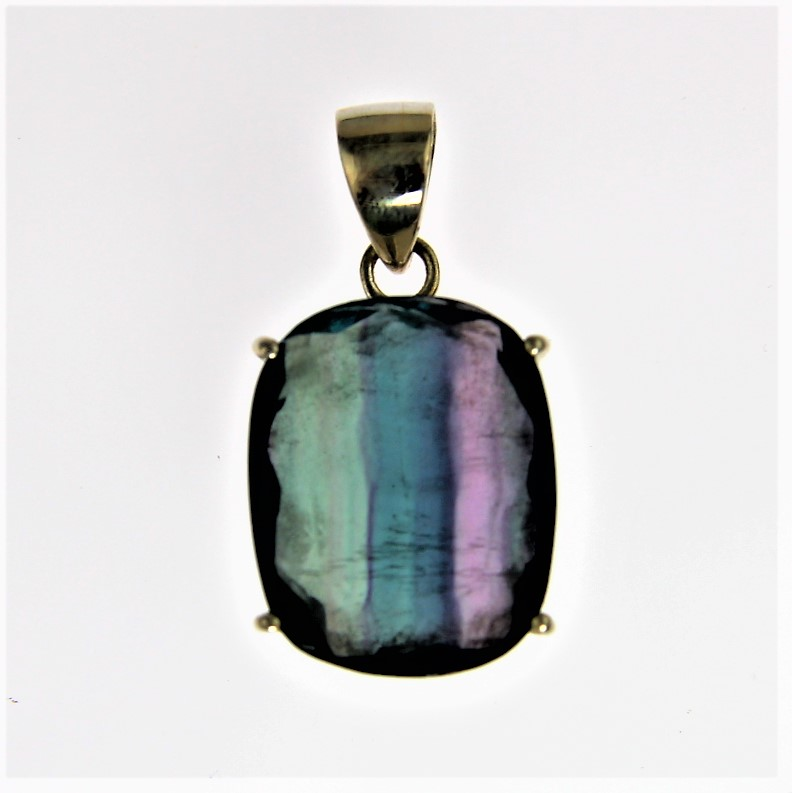 Fluorite set in Silver Pendant