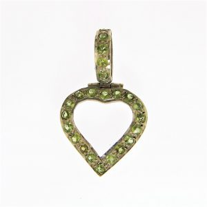 Green Peridot Silver Heart Pendants