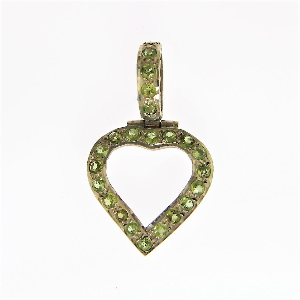 Green Peridot Silver Heart Pendants