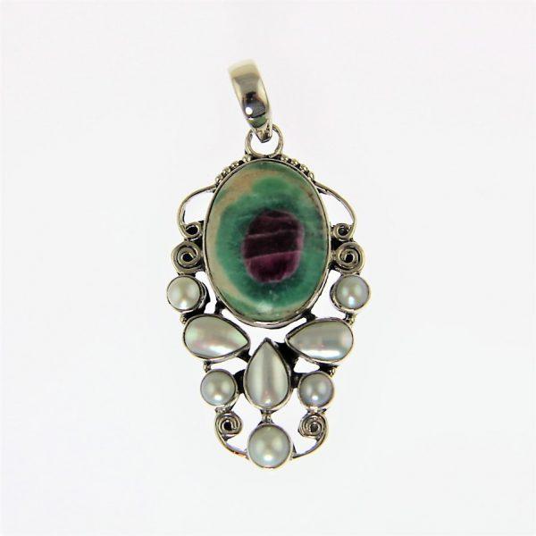 Ruby in Fuchsite Pearl Pendant