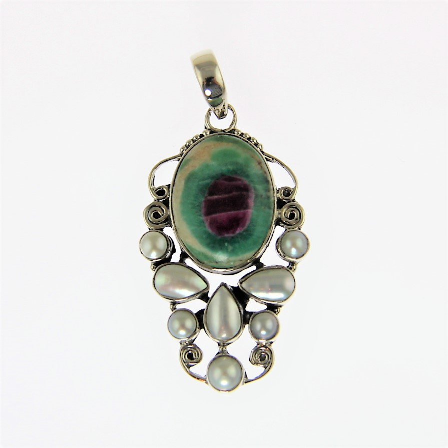Ruby in Fuchsite and Pearl Pendant in Sterling Silver