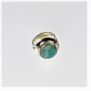 Larimar Round Silver Ring
