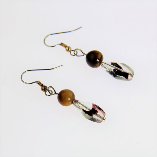 Tiger Eye and Clear Stone Earrings