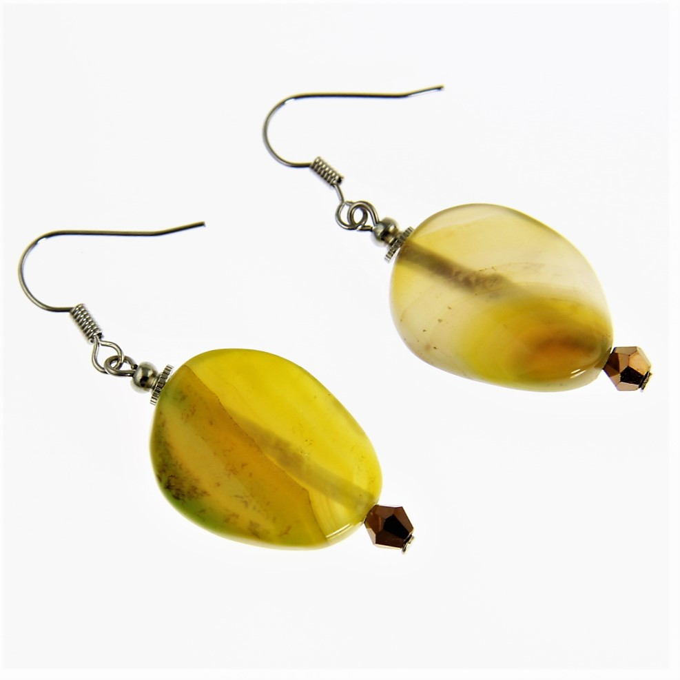Jade Yellow Beaded Earrings