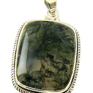 Moss Agate Silver Pendant