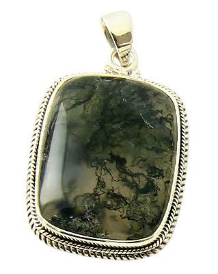Moss Agate Silver Pendant