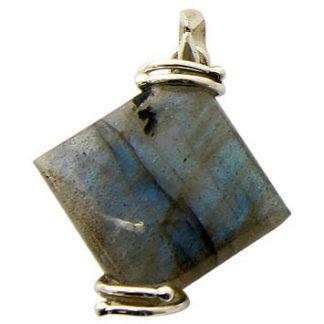 Labradorite Diamond Pendant