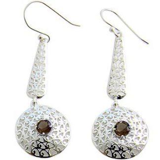 faceted smoky quartz earrings