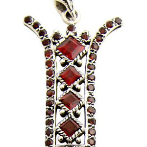 Faceted Garnet Zipper Pendant