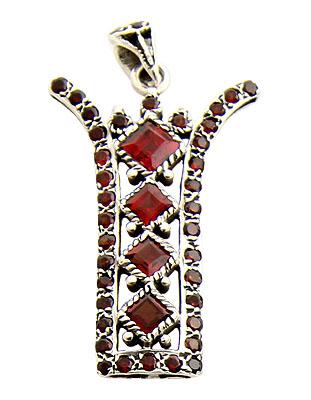 Faceted Garnet Zipper Pendant