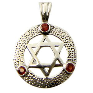 Garnet Silver Star of David Pendant