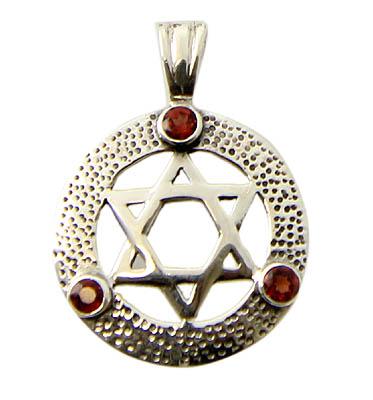 Garnet Silver Star Of David Pendant