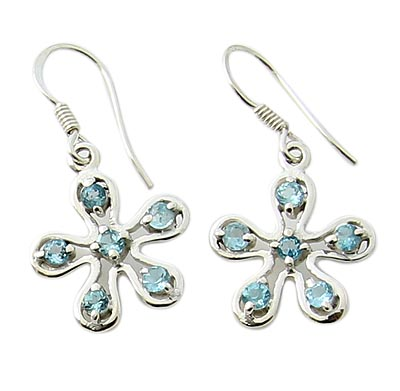 Faceted Blue Topaz Earrings 7
