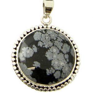 Round Snowflake Obsidian Pendant