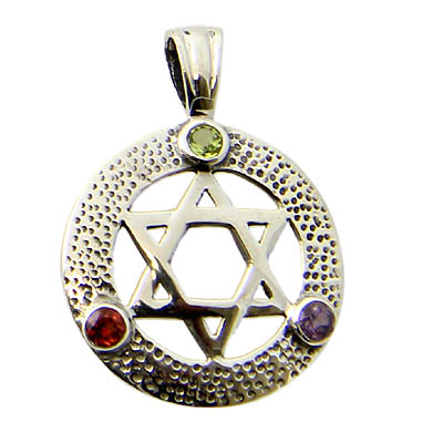 Faceted Peridot Amethyst Garnet Star Of David Pendant