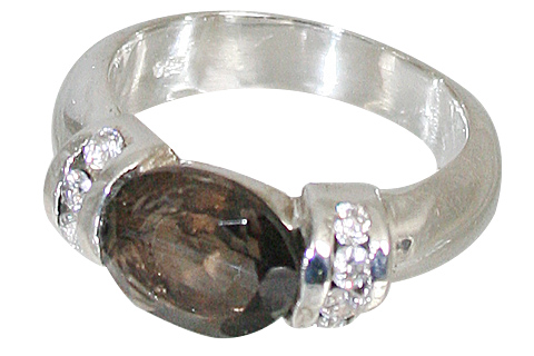 Sterling Silver Smoky Quartz And Cz Ring
