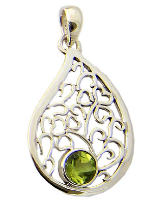 Faceted Peridot Silver Tear Pendant