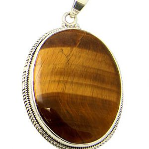 Oval Tiger Eye Cabochon Pendant