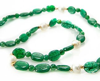 Green Aventurine and Pearl Necklace