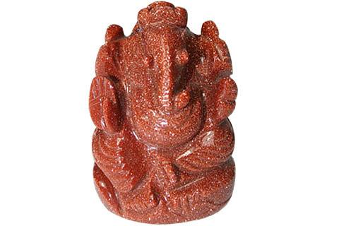 Sunstone Ganesha Carved Figure
