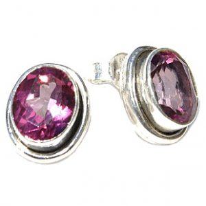 post pink topaz earrings