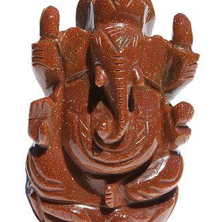 Goldstone Ganesha Carved Figure