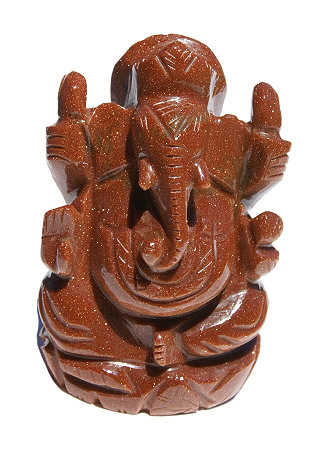 Goldstone Ganesha Carved Figure