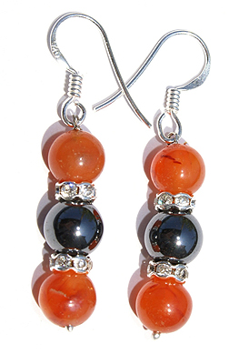 Carnelian, Hematite And Cz Earrings