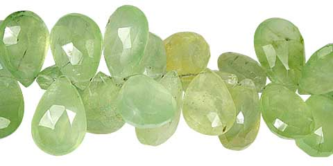 Faceted Prehnite Drop Beads (7mm-14mm)