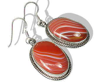 Oval Sardonyx Silver Earrings