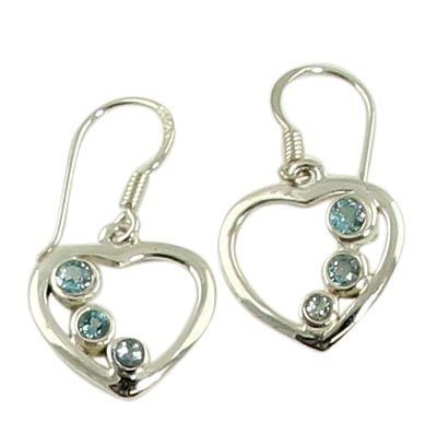 Faceted Blue Topaz Sterling Silver Earrings