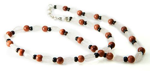 Rose Quartz, Goldstone And Garnet Necklace