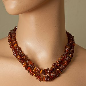 Two Strand Amber Chip Necklace