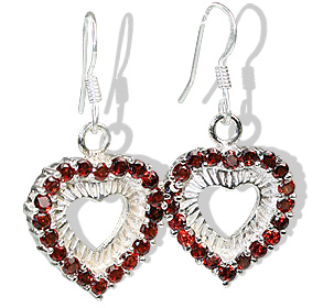 heart garnet earrings
