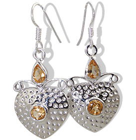 heart citrine earrings
