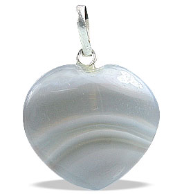 Petite Grey Banded Agate Heart Pendant