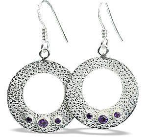 Faceted Amethyst Hoop Earrings